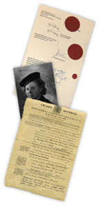 two old documents and an old photo of a woman